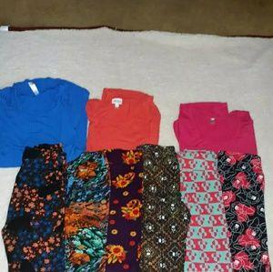 9 PC lularoe wardrobe DISNEY OS leggings